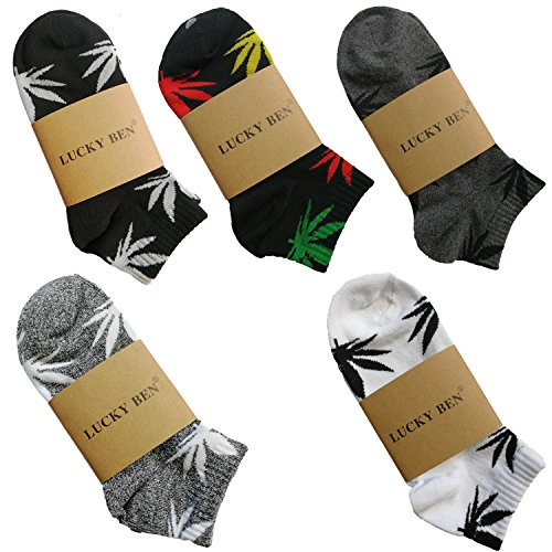 5 Pairs Unisex Marijuana Weed Leaf Boat Warm Cotton Socks US 5-9.5 (M, 4th Match) (Weed)