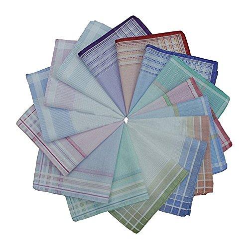 TanQiang 10 Pcs Multicolor Stripe Handkerchiefs Women Classic Pattern Vintage Pocket Hanky 100% Cotton Plaid Handerchief