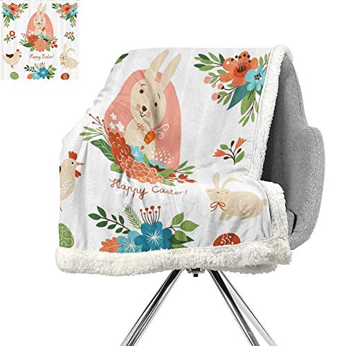 (ScottDecor Easter Decorations Blanket Small Quilt,White Green Blue Red Coral,Print Digital Printing Blanket W59xL78.7)