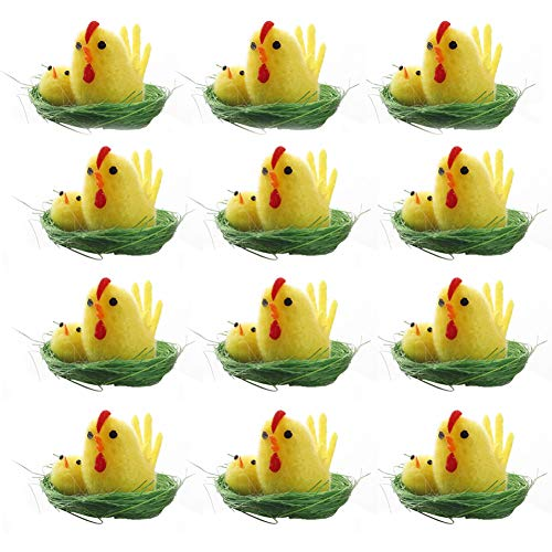 wang JESS Mini Chicks,12Pcs Plush Yellow Easter Chicks with Green Nest Decoration for Easter Eggs Bonnet Party Favors Gifts for Kids from wang JESS