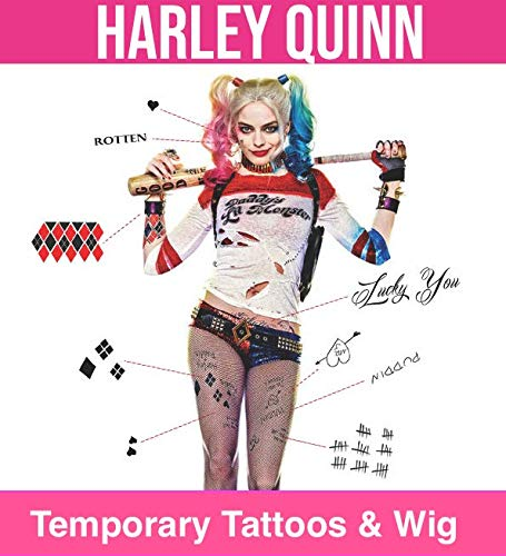 Harley Quinn Life Size Temporary Tattoos and Wig Set -