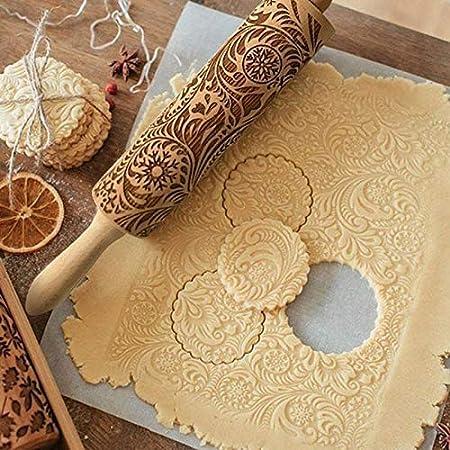 Rolling Pin flocon de neige en bois Gaufrage Pâtisserie Biscuit Fondant Noël