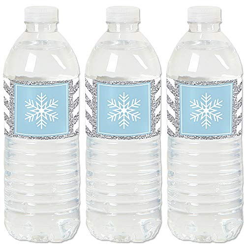 Winter Wonderland - Snowflake Holiday Party and Winter Wedding Water Bottle Sticker Labels - Set of 20