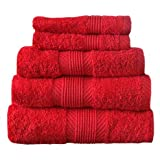 Catherine Lansfield Home 100% Cotton 450gsm 4 Piece Guest Towel Set, Cherry Red