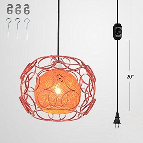Price comparison product image Kiven Plug-In Handmade Rattan Ball Pendant Lamp 15 Foot Black Cord with On / Off Dimmer Switch bulb not included ul listed (TB0260-A), Orange