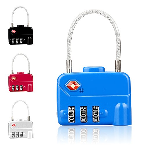 Dial Blue Alloy Case - LUCKSTAR TSA Combination Lock - 3 Dial Travel Padlock (Steel Wire + Alloy) Password Lock for Luggage / Suitcase / Baggage Toolbox / Fence / Hasp Cabinet / Storage (Blue)