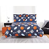 2 Piece Boys Blue Orange Scoring Goals Sports Theme Comforter Twin Set, Beautiful Footballs, Soccer Balls, Basketballs Print, Fun Graphic Pattern, Multicolor Stripes Background, Microfiber, Polyester