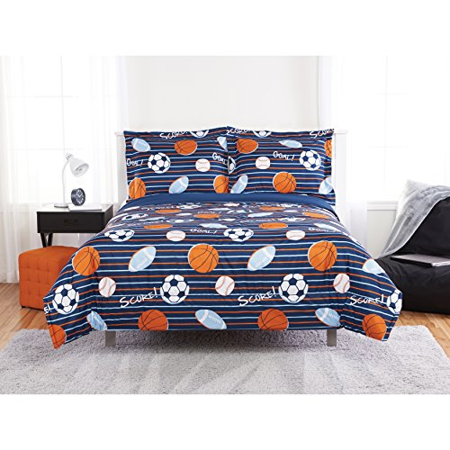 2 Piece Boys Blue Orange Scoring Goals Sports Theme Comforter Twin Set, Beautiful Footballs, Soccer Balls, Basketballs Print, Fun Graphic Pattern, Multicolor Stripes Background, Microfiber, Polyester by Unkk