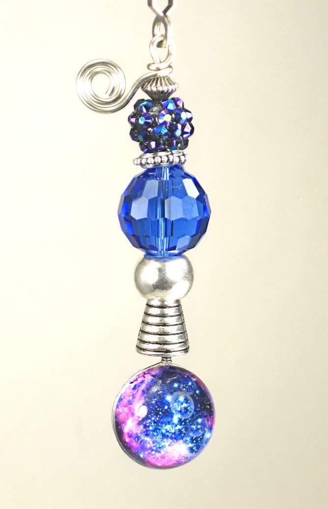 Stars in The Galaxy Interstellar Cobalt Blue Glass and Faux Rhinestone Ceiling Fan Pull