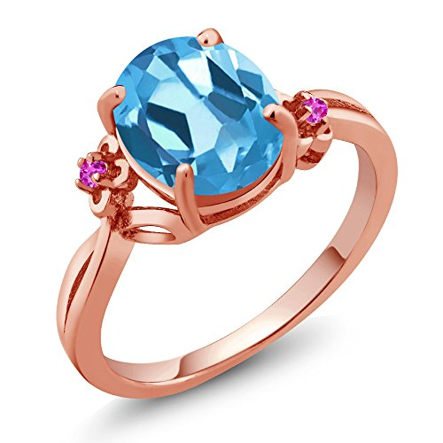2.74 Ct Oval Swiss Blue Topaz Pink Sapphire 14K Rose Gold Ring (Size 9)