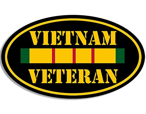 OVAL Vietnam Veteran Sticker (vet nam ribbon)