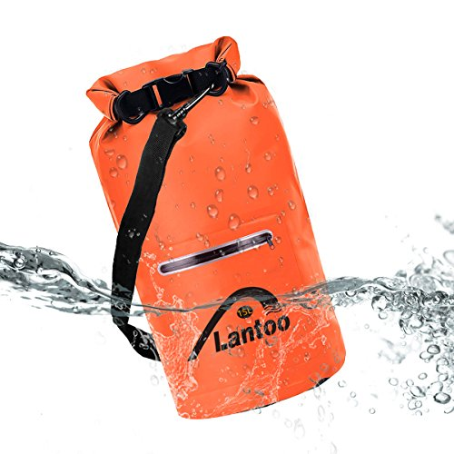 Lantoo Waterproof Dry Bag Sack, 15L Floating Compression Roll Top Dry Sack Backpack w/2 Zipper Pockets, Detachable Shoulder Strap, Keep Gear Dry for Kayaking, Rafting, Boating, Hiking,Camping,Fishing by Lantoo