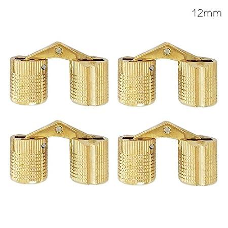 Cubo de cobre bisagra empotrada gabinete empotrado de lat/ón oculto bisagra soporte para muebles 4pcs 8//10//12//14//16mm