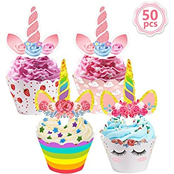 chic Unicorn Cupcake TopperCupcake ToppersDouble Sided Kids Party