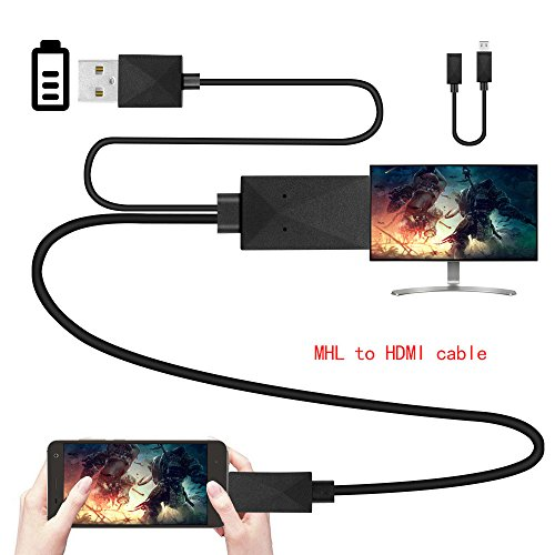 Efanr Universal Micro USB MHL to HDMI Media HDTV Adapter 6.5ft Cable 11 Pin & 5 Pin for Samsung Galaxy S2 S3 S4 S5 Note 2 3 4 8 Note Edge HTC M8 HTC One LG Sony Android Cell Phone 1080P Converter (To Connection Cable Pc Tv)