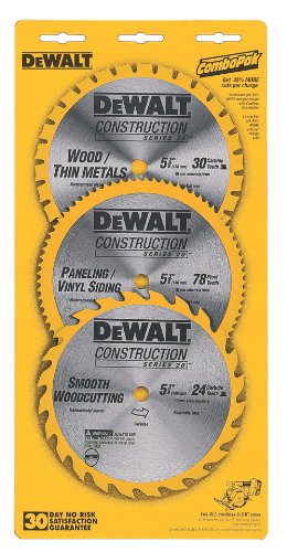 DEWALT DW9059C5 5-3/8-Inch Cordless Constuction Saw Blade Combo Pack with 16 Tooth, 30 Tooth, and 80 Tooth Saw Blades
