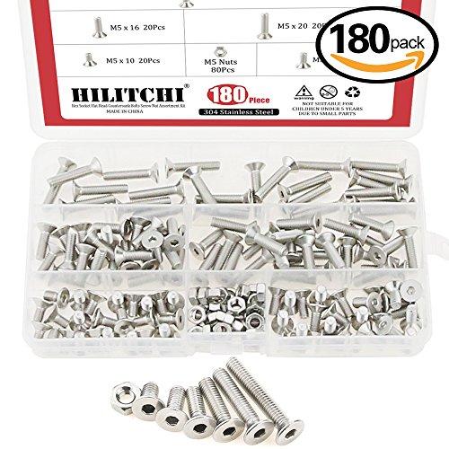 Hilitchi 180-Piece Metric M5 Hex Socket Flat Head Countersunk Bolts Screw Nut Assortment Kit - 304 Stainless Steel