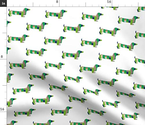 (Spoonflower Green Striped Dogs Fabric - Abstract Pet Dachshund Dogs Dogs Hotdog Pets Weiner Dog Dachshund Striped Abstract Watercolor by Babyancestree Printed on Sport Lycra Fabric by The Yard)