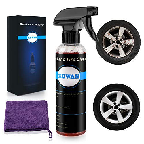 KUWAN Wheel and Tire Cleaner - Safe for All Wheels and Rims - Works on Alloy Chrome Aluminum Clear-Coated Painted Polished and Plasti-Dipped Rim - Wheel Cleaner (Best Alloy Wheel Cleaner)