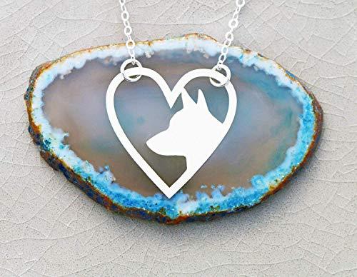 Dog Heart Necklace - IBD - Labrador Pitbull Pug German Shepherd Corgi Love Jewelry - 935 Sterling Silver 14K Rose Gold Filled Charm - Fast 1 Day Production