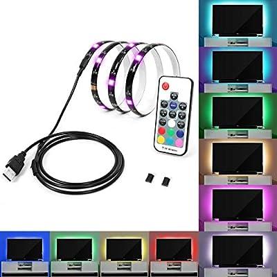 SUNXK Retroiluminación de TV iluminada Tira de LED RGB 100 cm, TV ...