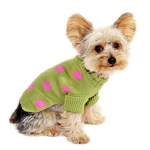 Stinky G Lime Green Dog Pet Sweater with Pink Polka Dot (#12 - M) (Rescue Dog Sweater)