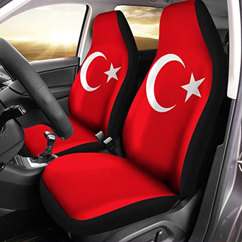 (Turkish Coat of Arms Turkey Flag Car Seat Covers Set of 2 Size Universal Fit)
