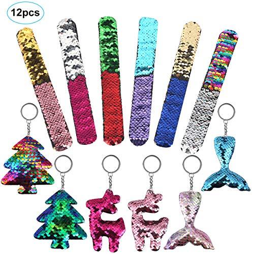HOMOR Mermaid Slap Bracelets, 6Pcs Two-Tone Sequin Slap Bracelets 6Pcs Mermaid Tail Christmas Key Chain Reversible Glitter Flip Wristbands Bracelets for Kids Women Christmas Birthday Party Favors