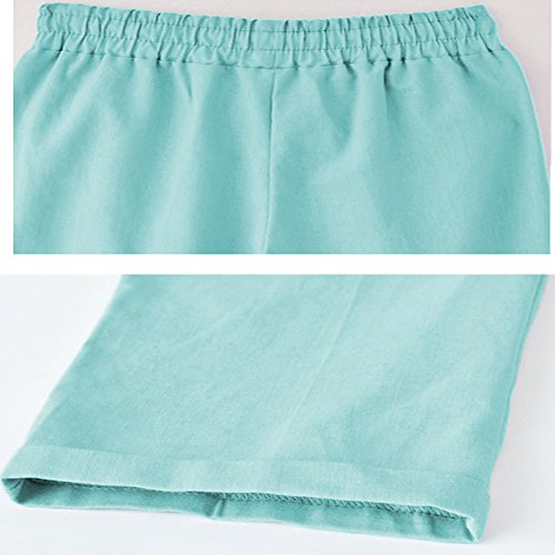 XinDao Women's Elastic Waist Casual Relaxed Fit Capris Pants Cotton Linen Cropped Pants Drawstring Agate Green US XL/Asia 5XL by XinDao (Image #3)
