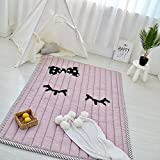 IHEARTYOU Thick Cotton Baby Crawling Cushion Non-slip Fresh Style Toddlers Mat Kids Play Mat Kids' Room Rug Activity Floor Carpet, Eyelash