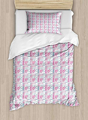 SINOVAL Romantic Twin Size Duvet Cover Set, Cute Valentines Day Love You Calligraphy with Hearts Pastel Colored Design,Fashion 2 Piece Bedding Set with 1 Pillow Sham, Baby Pink Teal
