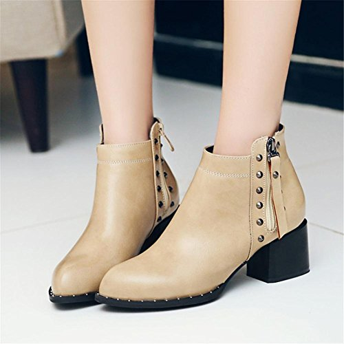 Cortas 36 BEIGE NVXIE 5 Heel EUR40UK7 EUR Dedo Trabajo de Rough Otoño del Puntiagudo Botas UK 4 3 Negro Remaches High Blanco Invierno Mujers Artificial pie Fiesta PU qFF1SE