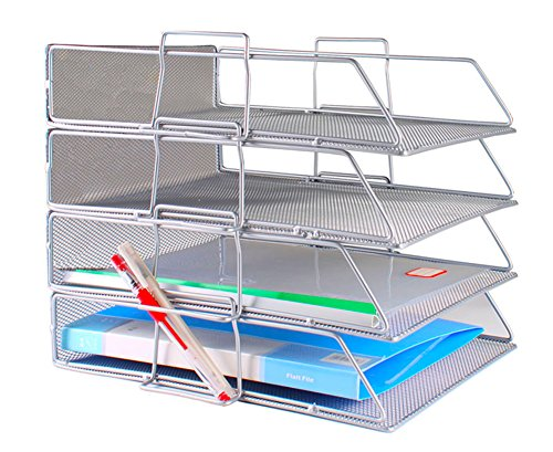 Document Tray Office Desk Organizer Stackable Mesh Collection Letter Tray Shelves Desktop Paper Holder Metal Desktop Tray (Silver, 4-Tier) - Tray Holder Top