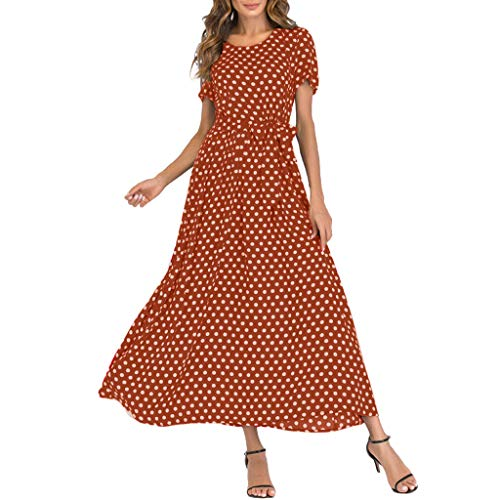 (Casual Summer Dresses Fashion Women O-Neck Short Sleeve Beach Polka Dot Bandage Boho Long Maxi Dress with Belt Brown)