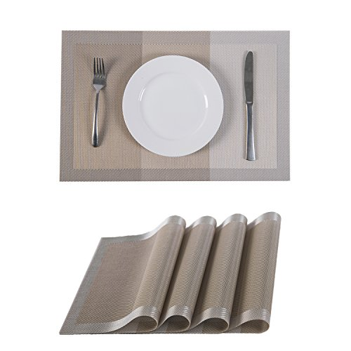 Set of 4 Placemats,Placemats for Dining Table,Heat-resistant Placemats, Stain Resistant Washable PVC Table Mats,Kitchen Table mats.(4, Strip-Khaki)