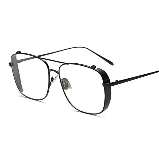 14d6d1733c5 Men Square Glasses Metal Frame Eyeglasses Women 2018 Fashion(black with  clear)