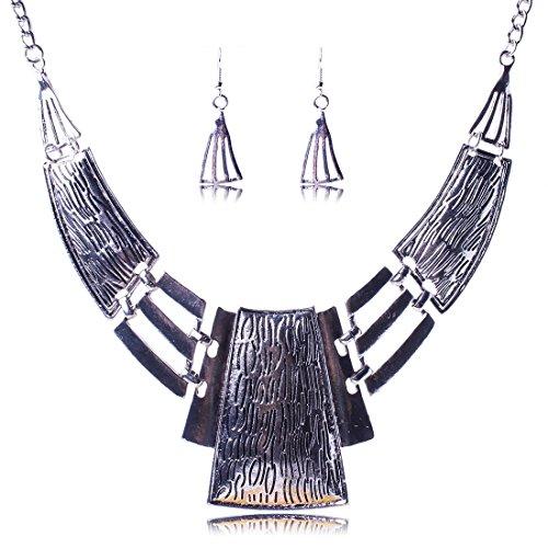 QIYUN.Z (TM) Women's Chunky Bold Square Bib Statement Chain Link Collar Necklace Earrings - Statement Bold