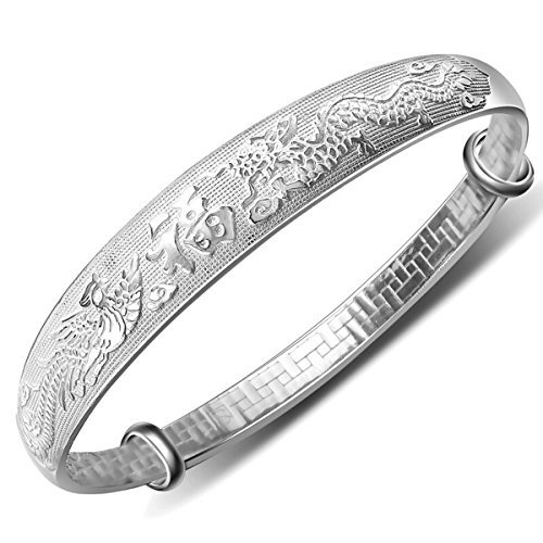 Merdia Weekly Promotion 30% Discount Women's 999 Solid Sterling Silver Chinese Dragon Phoenix Carved Adjustable Bangle Bracelet 27g Weight for Women,ladies and elder. - Luck Dragon