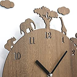 Silent Non Ticking Designer Wall Clock, Large 13-Inch Non-Ticking Quartz Battery Easy Install Vintage Wood Zoo Animal Earth Conservation Classroom/Home/Office Rustic Wooden No Glass Clock