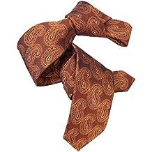 Dmitry Mens Italian Silk Rust Orange Paisley Tie
