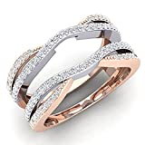 tusakha 0.50 Carat (ctw) 14K White & Rose Gold Plated Sterling Silver CZ Diamond Ladies Wedding Band Enhancer Guard Double Ring 1/2 CT (4-12) (8)