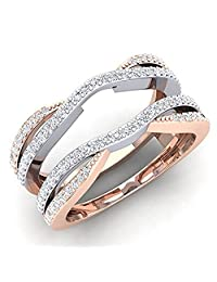 tusakha 0.50 Carat (ctw) 14K White & Rose Gold Plated CZ Diamond Ladies Wedding Band Enhancer Guard Double Ring 1/2 CT (4-12)
