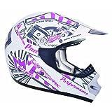 CKX 183972 TX-218 Pursuit Juniors/Kids/ Youth Full Moto Helmet, Pink/White, Small