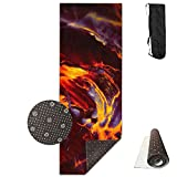 A Running Animal On Fire Yoga Mat,Crystal Fabric,bottom Non-woven Point Plastic.