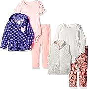 Carter's Girls' 6-Piece Jacket and Vest Set, Purple, 3 Months