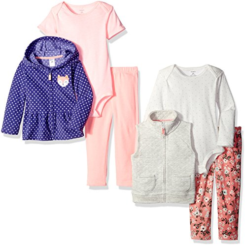 Carters 2 Piece Outfit (Carter's Girls' 6-Piece Jacket and Vest Set, Purple, 18)