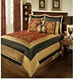 8 Piece Elegant Floral Jacquard Design Comforter Set King Size, Featuring Framed Oriental Inspired Pattern Comfortable Bedding, Traditional Stylish Asian Theme Bedroom Decoration, Red, Gold, Multi