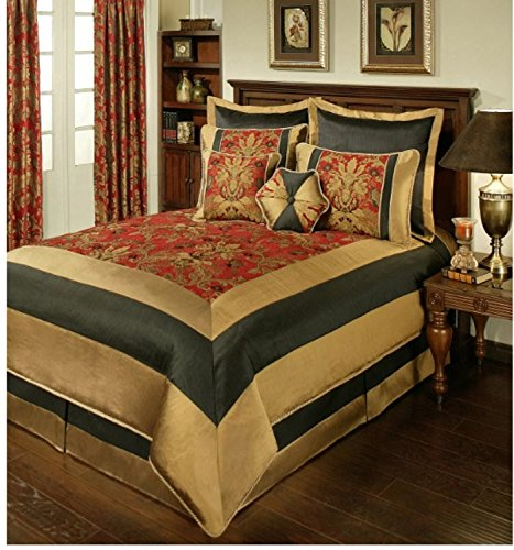 8 Piece Elegant Floral Jacquard Design Comforter Set Queen Size, Featuring Framed Oriental Inspired Pattern Comfortable Bedding, Traditional Stylish Asian Theme Bedroom Decoration, Red, Gold, Multi - Asian Inspired Comforter Sets