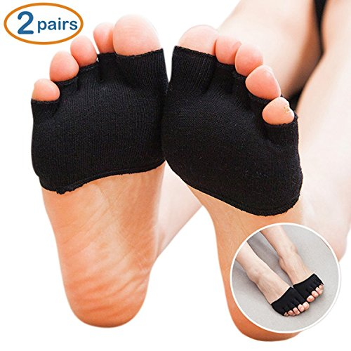 SUPOW Sling-back Socks,Contton Non-Slip Toeless Socks No-Show Half Socks Barre Pilates Yoga Half Palm Socks Ballet Grip Sock for Summer (Black2)