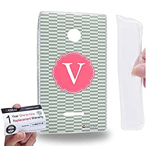 Case88 [Nokia Lumia 435] Gel TPU Carcasa/Funda & Tarjeta de garantía - Art Typography Fashion Alphabet V Style Art1265